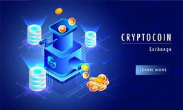 Glowing background with illustration of money exchange machine c Stock Image