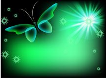 Background with butteflies. Glowing background with magic  butterflies and sparkling stars Royalty Free Stock Images