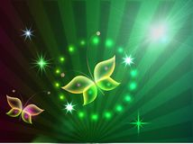 Background with shiny  butteflies. Glowing background with magic  butterflies and sparkling stars Stock Image