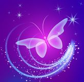 Glowing background with magic  butterflies and sparkling stars. Transparent butterfly and glowing stars. Glowing image on dark  purple background Royalty Free Stock Images