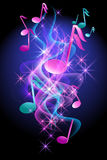 Glowing background with musical notes. Smoke and stars Stock Photos