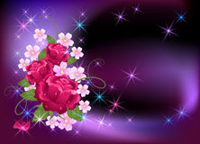 Glowing background with roses. Glowing background with flowers and stars Stock Image