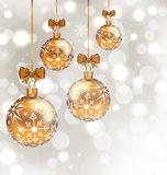 Glowing background with set Christmas balls Royalty Free Stock Photos