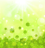 Glowing background with shamrocks for St. Patricks Day Royalty Free Stock Image