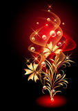 Glowing background with smoke and golden ornament Stock Image