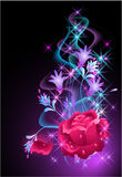 Glowing background with smoke and rose. Glowing background with rose and stars Royalty Free Stock Photo