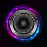 Glowing background with Sound Speaker Stock Photo