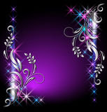 Glowing background with stars. And silver ornament Stock Photo