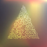 Glowing background with swirls in a triangle. Vector Stock Image