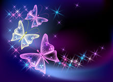 Glowing background with transparent butterfly. And stars royalty free illustration