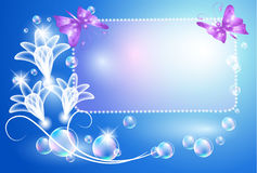 Glowing background with transparent flowers Stock Photo