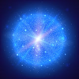 Glowing ball with particles. Bright glowing ball filled with particles and dust with shine and glow. The specks of light flying from the explosion Stock Photo