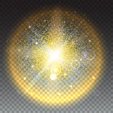 Glowing ball with particles. Bright glowing ball filled with particles and dust with shine and glow. The specks of light flying from the explosion on transparent Royalty Free Stock Photo