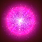 Glowing ball with particles. Bright glowing ball filled with particles and dust with shine and glow. The specks of light flying from the explosion Royalty Free Stock Image