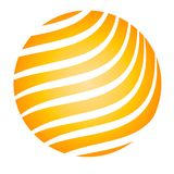 Glowing Ball Yellow Stripes. A clip art illustration of a gold yellow ball or orb with a striped pattern isolated against a white background. Ideal as a web logo royalty free illustration