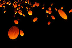 Glowing bamboo lanterns Royalty Free Stock Photography