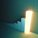 Glowing bar chart. A 3D-rendered bar chart with the top bar glowing Stock Photo