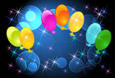 Glowing bckground with balloons Royalty Free Stock Images