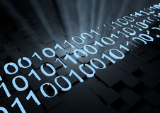 Glowing binary code. Render of some glowing blue binary code Stock Photography