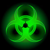 Glowing Biohazard Sign. Green Glowing Biohazard Sign on dark background Stock Photos
