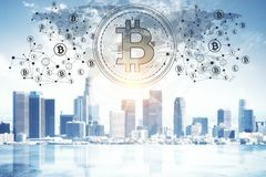 Glowing bitcoin backdrop. Abstract glowing bitcoin backdrop. Cryptocurrency, finance, e-commerce and payment concept. 3D Rendering Stock Photography