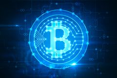 Glowing bitcoin backdrop. Creative glowing bitcoin backdrop. Cryptocurrency and finance concept. 3D Rendering Royalty Free Stock Images
