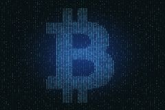 Glowing bitcoin background. Creative glowing bitcoin background. Cryptocurrency and commerce concept. 3D Rendering stock illustration