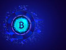 Glowing bitcoin on glossy blue digital background for crypto min. Ing concept based isometric design stock illustration