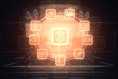 Glowing bitcoin interface. On blurry background. Sci-fi concept. Double exposure Stock Photos