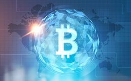 Bitcoin global network interface, Earth and office. Glowing Bitcoin symbol against a polygonal Earth map and globe and a blurred office background. Toned image Royalty Free Stock Photo
