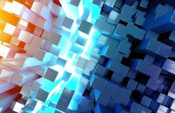 Glowing black blue and orange squares background pattern 3D rendering royalty free stock photo