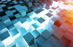 Glowing black blue and orange squares background pattern 3D rendering royalty free stock image