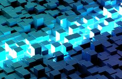 Glowing black and blue squares background pattern 3D rendering stock photography