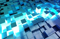 Glowing black and blue squares background pattern 3D rendering royalty free stock images