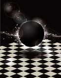 Glowing black orb on checkered background Royalty Free Stock Photography