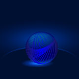 Glowing blue ball abstraction. On a dark blue background Stock Photos