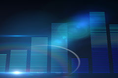 Glowing blue bar chart Stock Images