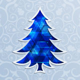 Glowing blue Christmas tree. Design elements for holiday cards. Vector illustration Royalty Free Stock Image