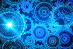 Glowing blue cogwheels background royalty free illustration