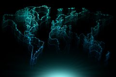 Glowing blue contour map of the world Royalty Free Stock Images
