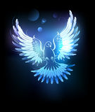 Glowing blue dove. Glowing , flying dove on a black background royalty free illustration