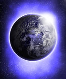 Glowing blue earth Stock Photo