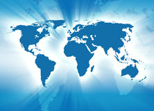 Glowing Blue Earth. A map of the Earth is blue and sunshine rays are coming out of it Stock Photo