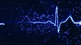 Glowing blue EKG electrocardiogram waveform on monitor. Glowing blue electrocardiogram waveform on monitor. Abstract health care concept. Computer generated Stock Photography