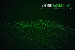 Glowing blue grid landscape. Vector techno background Stock Photo