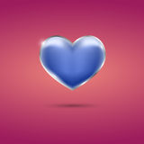 Glowing blue heart with frame on pink background. Eps10 Stock Photography