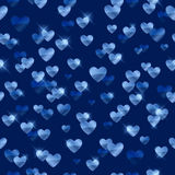 Glowing blue hearts sequins background. Metallic hearts random pattern. Valentines day design Stock Images