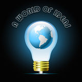Glowing blue light bulb with globe. Bulb light idea Royalty Free Stock Photo