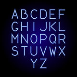 Glowing blue neon alphabet letters from A to Z. Vector. Glowing blue neon alphabet letters from A to Z. Vector illustration Stock Photography