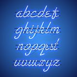 Glowing Blue Neon Lowercase Script Font. Glowing Blue Neon Script Font with lowercase letters from A to Z with wires, tubes, brackets and holders. Shining and royalty free illustration
